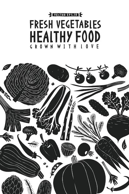 Modèle de conception de légumes dessinés à la main Vecteur Premium