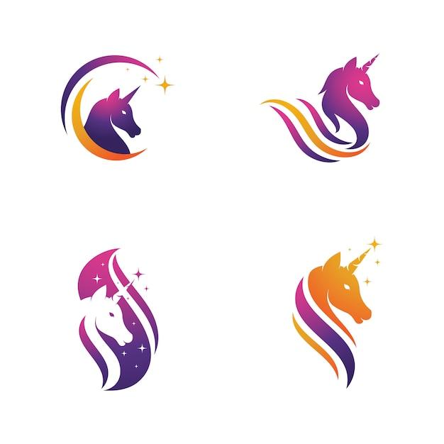 Modèle De Conception Licorne Logo Icône Vector Illustration Vecteur Premium