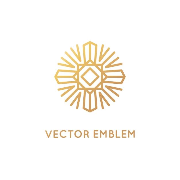Modèle De Conception De Logo Abstrait Vectoriel Dans Un Style Linéaire Branché Vecteur Premium