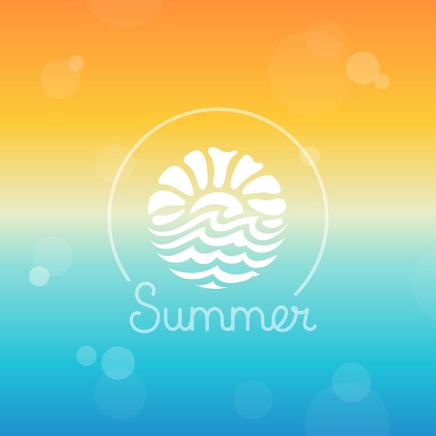 Modèle de conception de logo abstrait vectoriel - soleil et mer Vecteur Premium