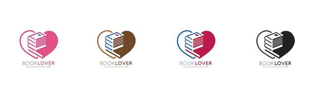 Modèle de conception de logo d'amant de lecture Vecteur Premium