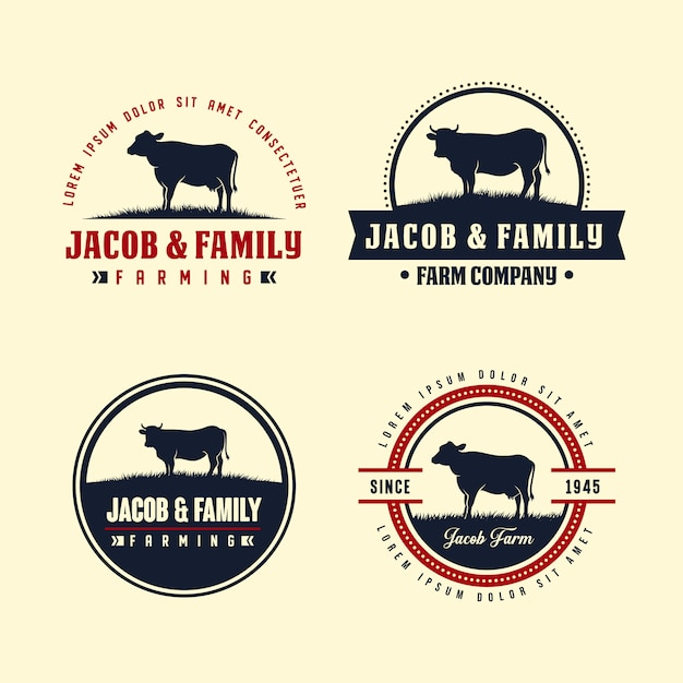 Modèle de conception de logo angus noir. création de logo de ferme de vache Vecteur Premium