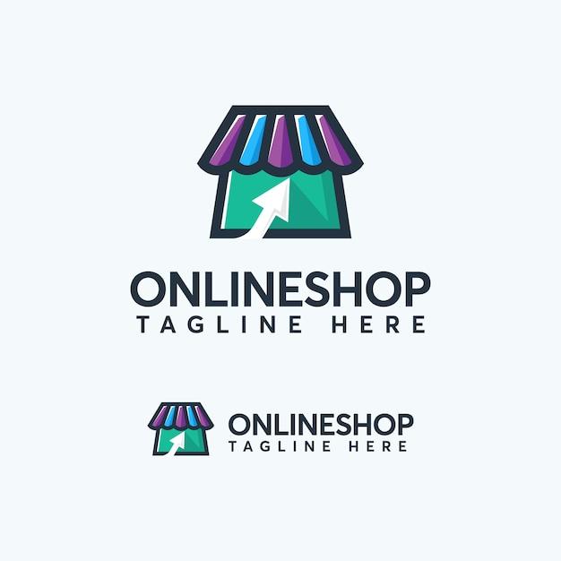 Modèle de conception de logo de boutique en ligne de couleur moderne Vecteur Premium