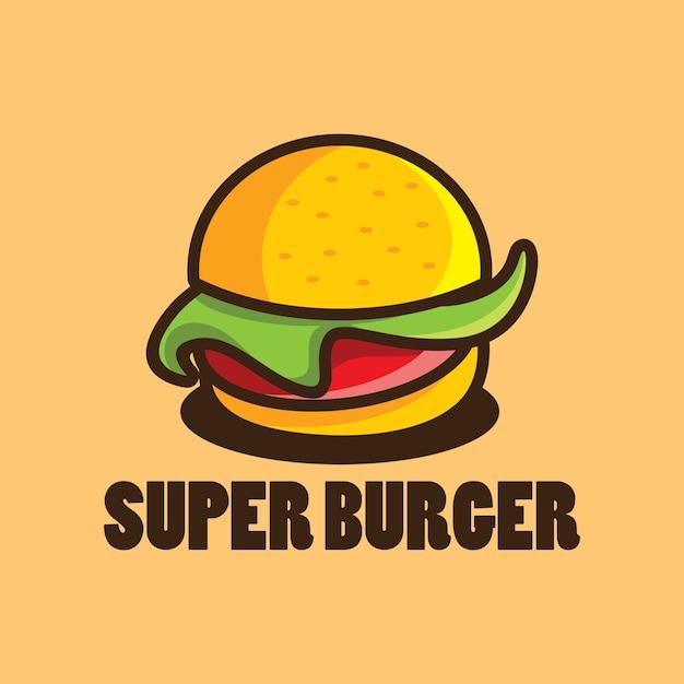 Modèle de conception de logo burger avec illustration de dessin animé de burger Vecteur Premium
