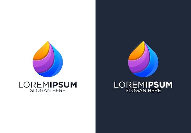 Modèle De Conception De Logo Coloré Goutte à Goutte Vecteur Premium
