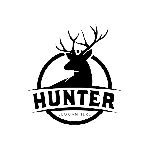 Modèle De Conception De Logo Deer Hunter Vecteur Premium