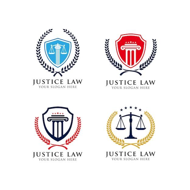 Modèle de conception de logo emblème de la justice Vecteur Premium