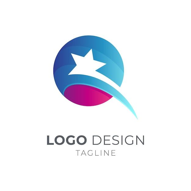 Modèle De Conception De Logo étoile Lettre Q Vecteur Premium