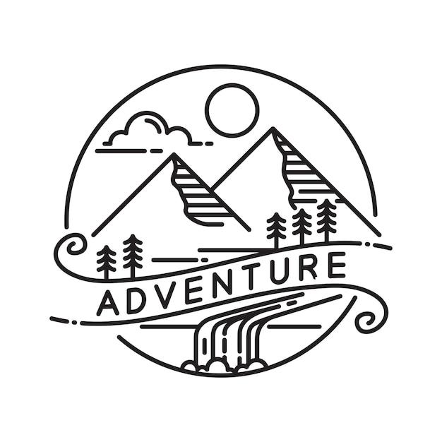 Modèle De Conception De Logo Extérieur Monoline Mountain Vecteur Premium