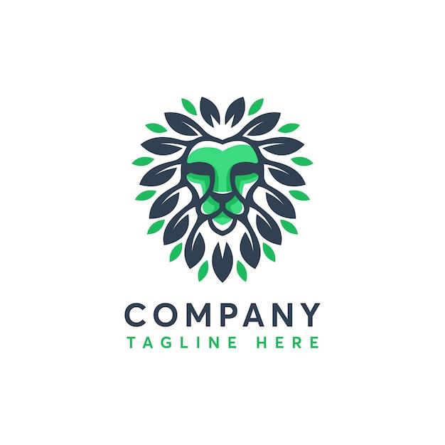 Modèle De Conception De Logo Feuille Nature Moderne Lion Vecteur Premium