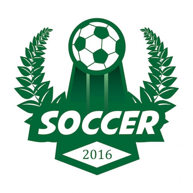Modèle de conception de logo de football football badge. Vecteur Premium