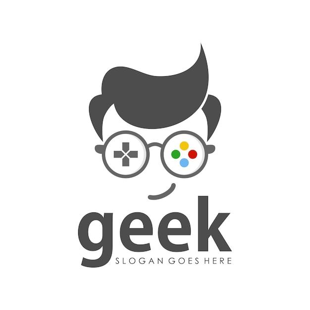 Modèle de conception de logo geek Vecteur Premium