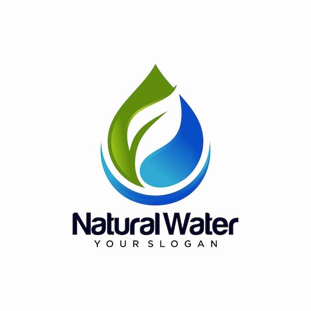 Modèle De Conception De Logo Goutte D'eau Nature Leaf Vecteur Premium