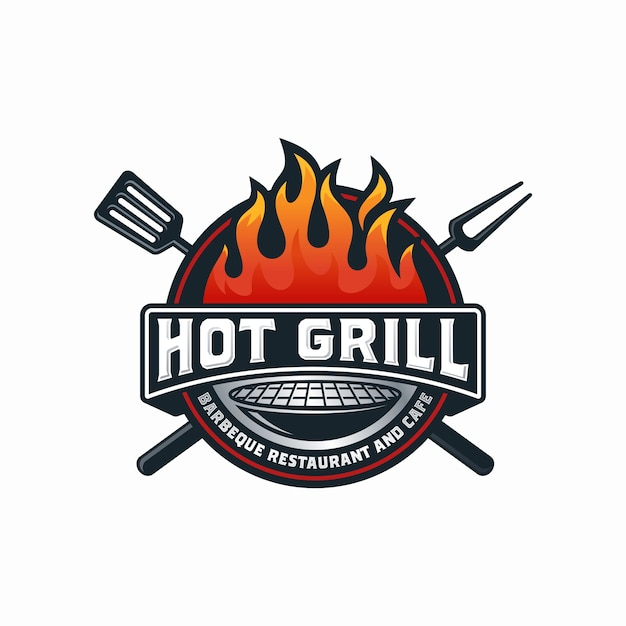 Modèle De Conception De Logo Hot Grill Vecteur Premium