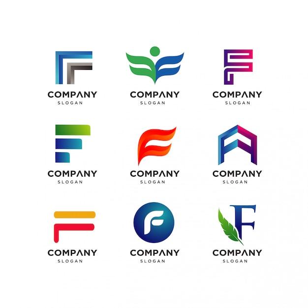 Modèle de conception de logo lettre f Vecteur Premium