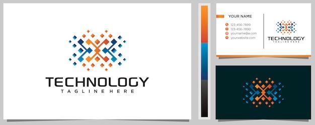 Modèle De Conception De Logo Lettre X Coloré Avec Carte De Visite Vecteur Premium