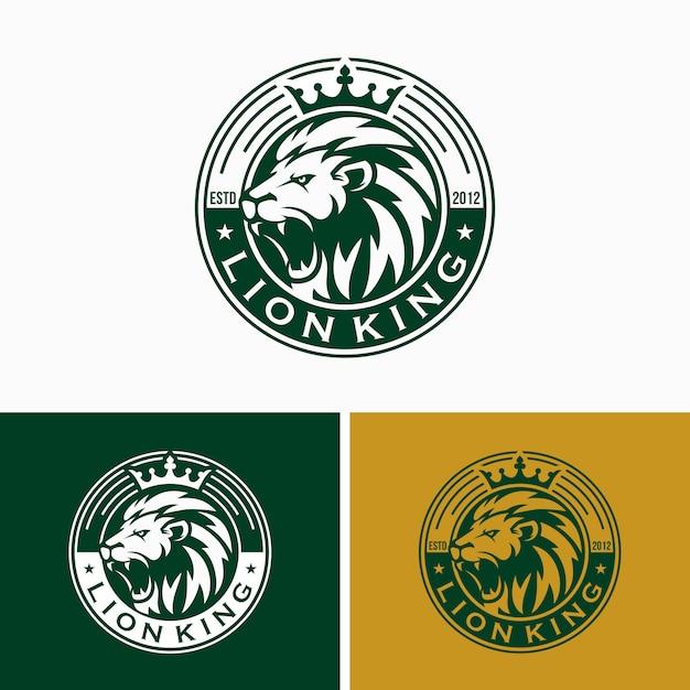 Modèle de conception de logo lion vintage Vecteur Premium