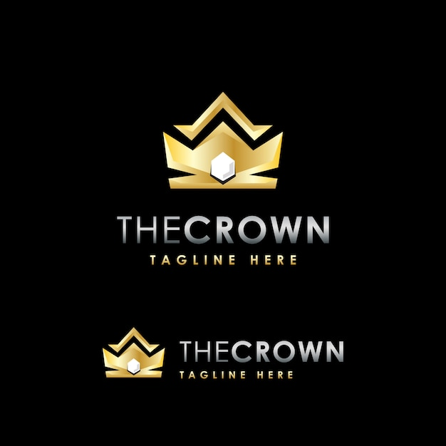 Modèle de conception de logo de luxe premium couronne Vecteur Premium