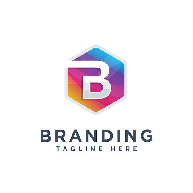 Modèle de conception de logo moderne coloré lettre b Vecteur Premium