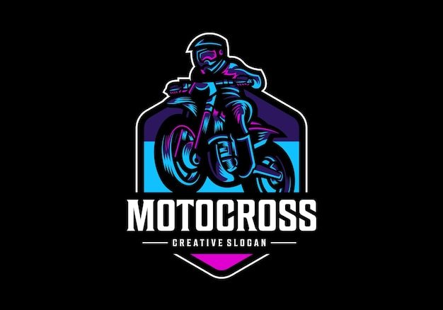 Modèle De Conception De Logo De Motocross Génial Vecteur Premium