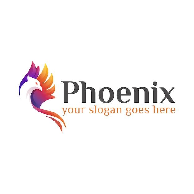 Modèle De Conception De Logo Phoenix Ou Aigle Mouche Colorée Moderne Vecteur Premium