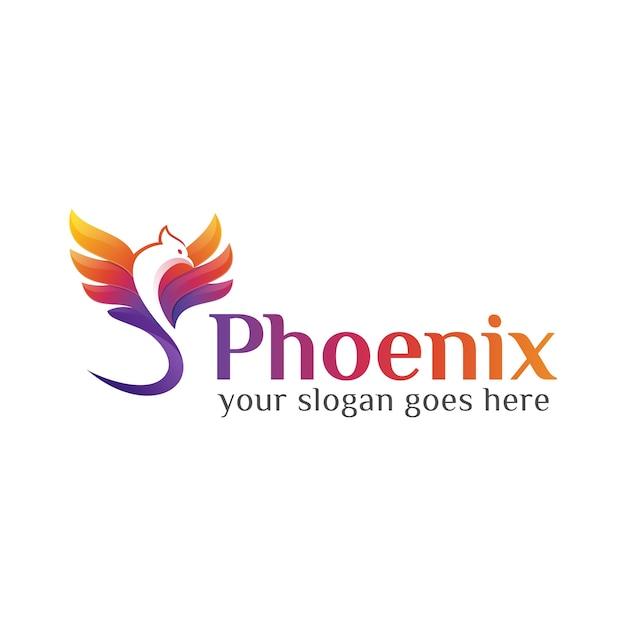 Modèle De Conception De Logo Phoenix Ou Aigle Mouche Colorée Vecteur Premium