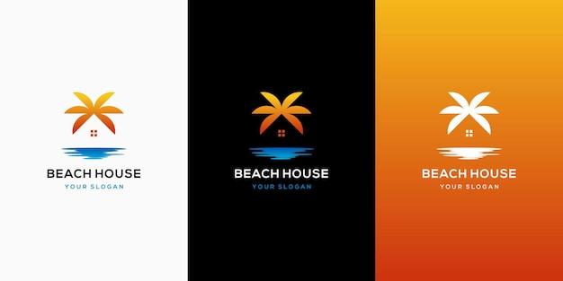 Modèle De Conception De Logo De Plage à La Maison Vecteur Premium