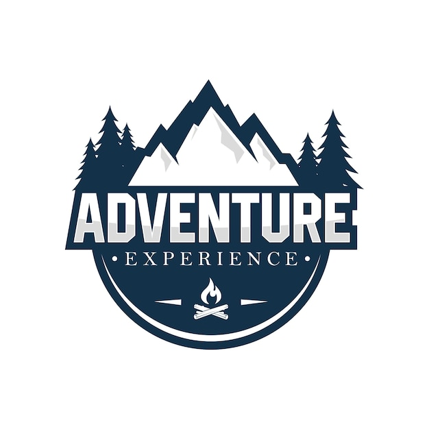 Modèle de conception de logo en plein air et aventure Vecteur Premium