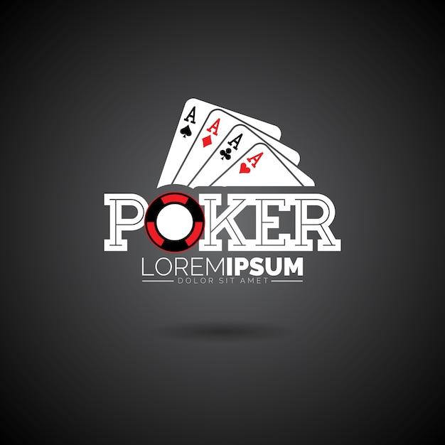 Modèle de conception de logo poker vector avec des éléments de jeu. illustration de pâques avec as set de cartes à jouer sur fond foncé Vecteur Premium