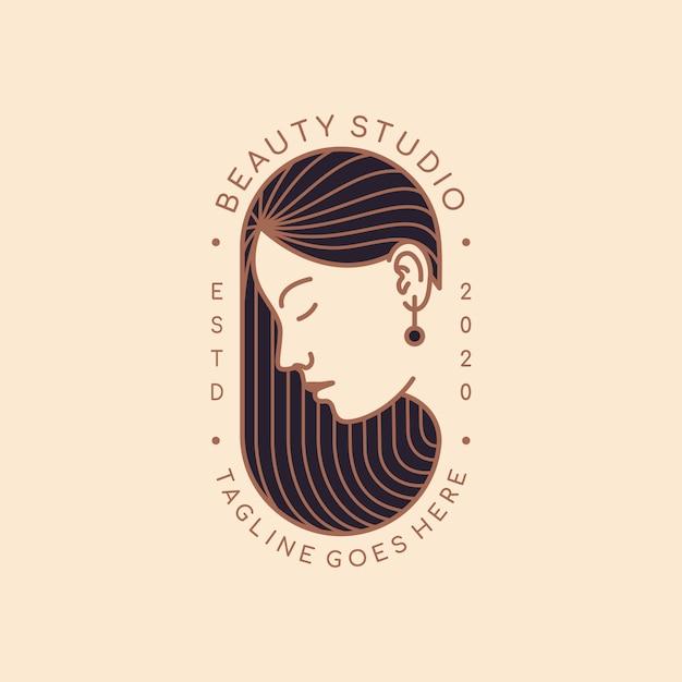 Modèle De Conception De Logo Pour Salon De Beauté, Salon De Coiffure, Cosmétique, Maquilleuse Vecteur Premium