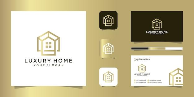 Modèle De Conception De Logo Professionnel De Maison De Luxe Et Conception De Carte De Visite Vecteur Premium