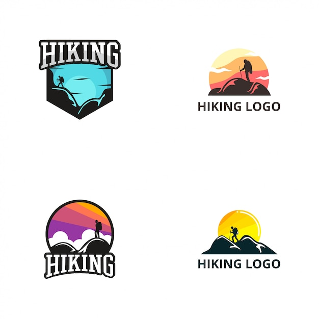 Modèle de conception de logo de randonnée Vecteur Premium