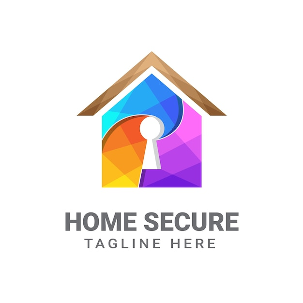 Modèle De Conception De Logo Sécurisé à La Maison Premium, Sécurité à La Maison, Maison Clé, Maison Sécurisée Vecteur Premium