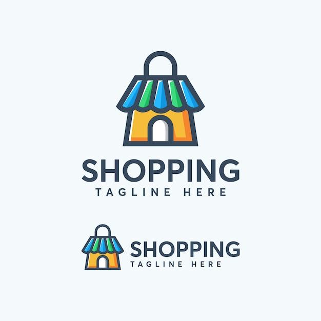 Modèle de conception de logo shopping coloré moderne Vecteur Premium
