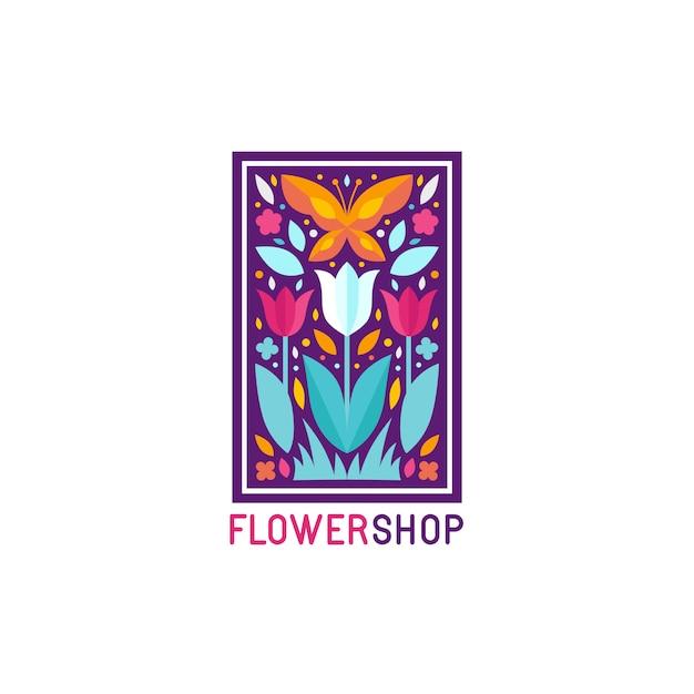 Modèle de conception de logo simple et élégant de vecteur dans le style plat branché - emblème abstrait pour magasin de fleurs Vecteur Premium