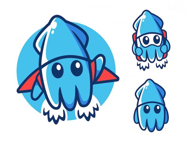 Modèle De Conception De Logo De Squid Volant Vecteur Premium