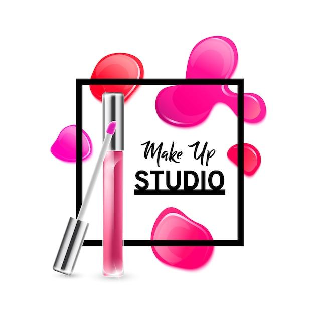 Modèle de conception de logo de studio de maquillage. Vecteur Premium