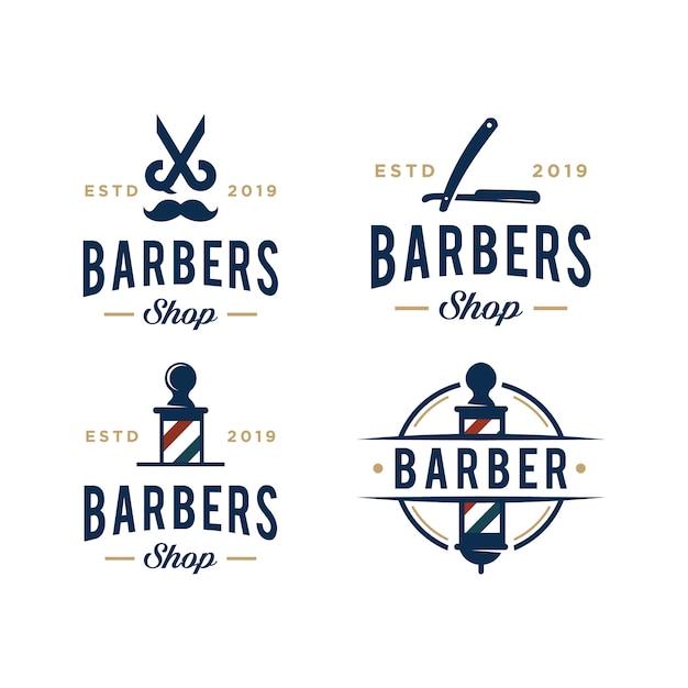 Modèle De Conception De Logo Vectoriel Vintage Barbershop Vecteur Premium