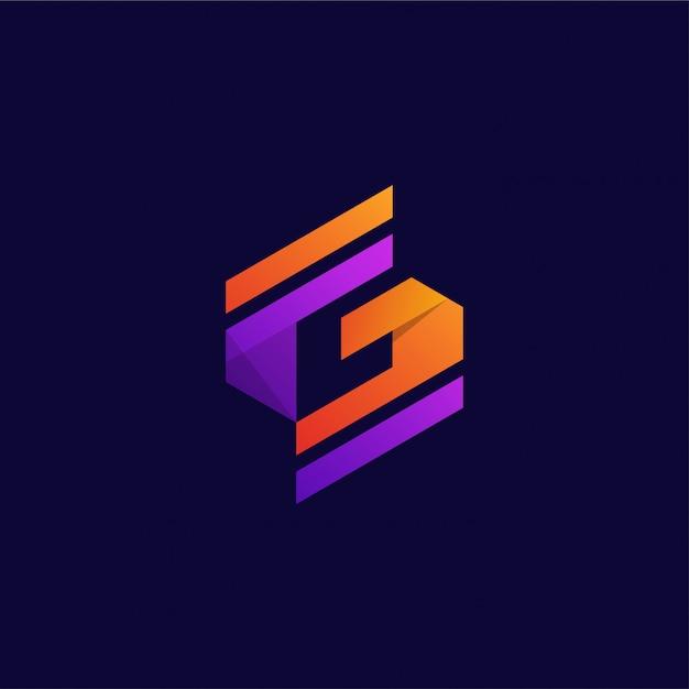 Modèle de conception de logo vibrante lettre g créative Vecteur Premium