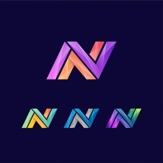 Modèle de conception de logo vibrante lettre n créatif Vecteur Premium