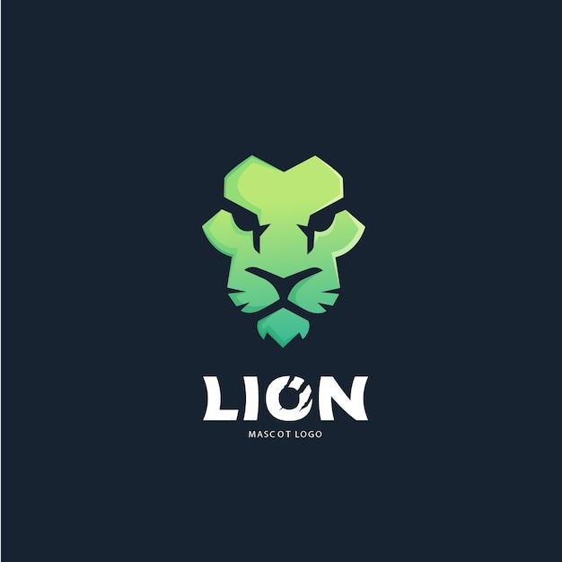 Modèle de conception de logo visage de lion Vecteur Premium