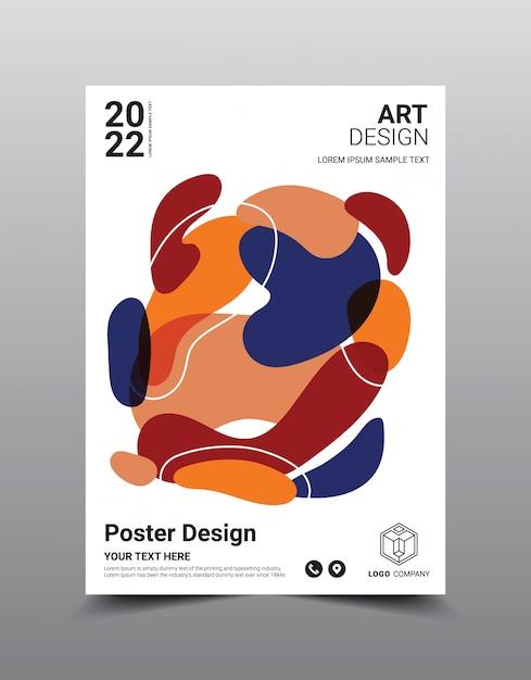 Modèle De Conception De Magazine Affiche Créative. Abstrait Cool Vecteur Premium