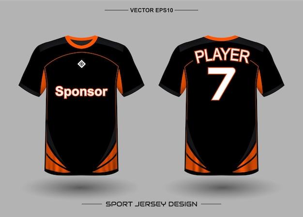 Modèle De Conception De Maillot De Sport Pour L'équipe De Football De Couleur Noire Et Orange Vecteur Premium