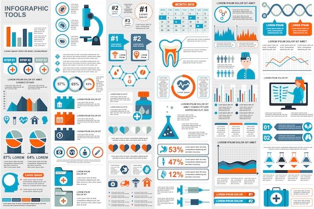 Modèle de conception médicale infographie éléments données visualisation vecteur Vecteur Premium