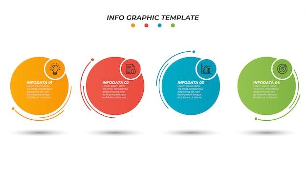 Modèle De Conception De Mise En Page Papier Infographique Avec Processus De Ligne Mince. Concept D'entreprise Avec 4 Options, étapes. Vecteur Premium