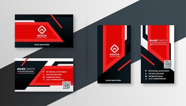 Modèle De Conception Moderne De Carte De Visite Géométrique Rouge Vecteur gratuit