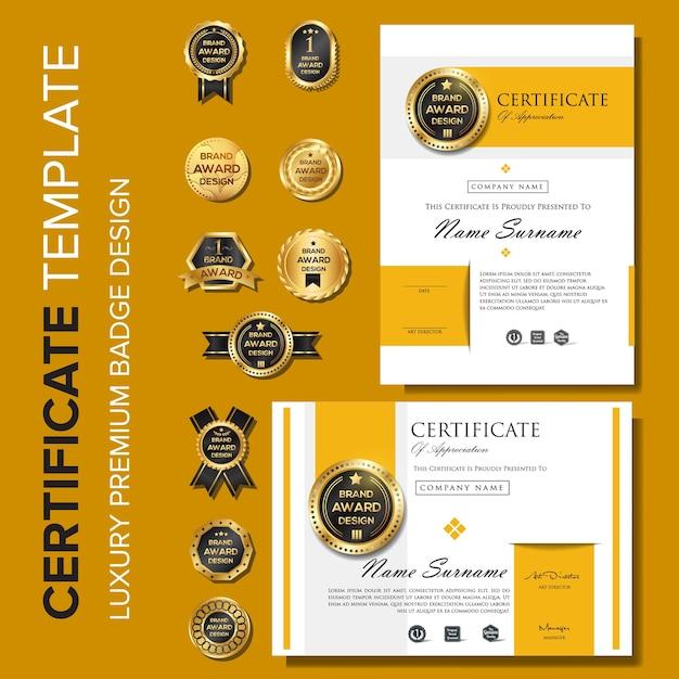 Modèle de conception moderne de certificat avec badge Vecteur Premium