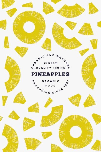 Modèle de conception de morceaux d'ananas. Vecteur Premium