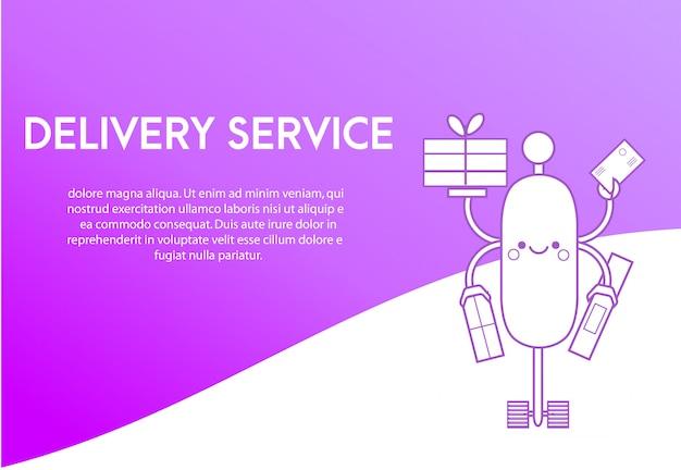 Modèle de conception de page de destination pour le service de livraison. Vecteur Premium