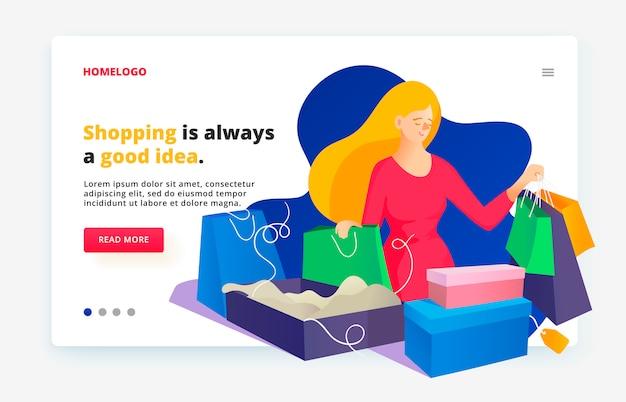 Modèle de conception de page web. après les achats avec les achats. achat en ligne pour les femmes. Vecteur Premium
